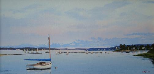 wickford harbor oil painting