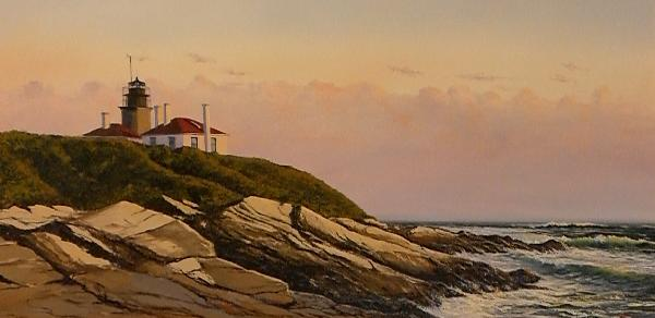 Beavertail Light Jamestown RI Oil Painting
